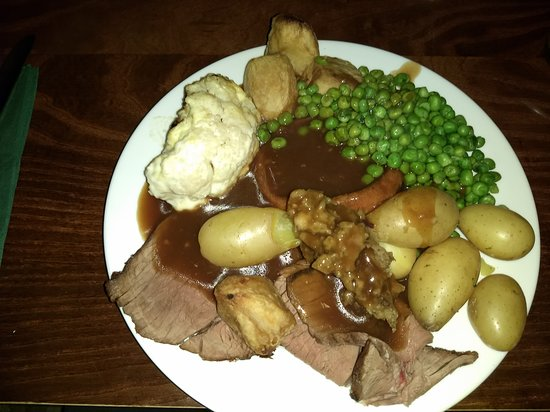 Dyke, UK: Beef carvery, with more potatoes than is good for me. Ignored about 6 other types of vegetable available.