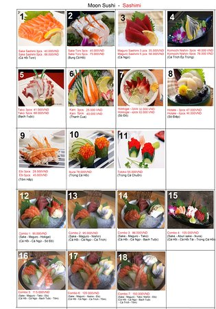 Menu Moon Sushi Binh Thanh Distrct 1 page fresh salmon sashimi
