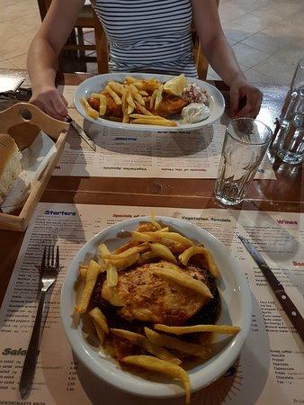 Taverna Vatalos: The food we ordered. Stuffed Eggplant and a schnitzel.