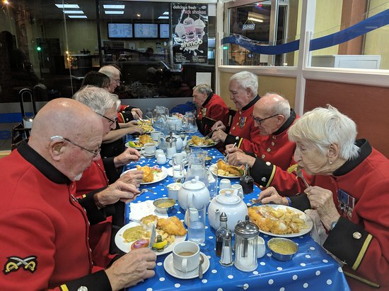 Thrapston, UK: Special Guests: Chelsea Pensioners came for Fish & Chips.