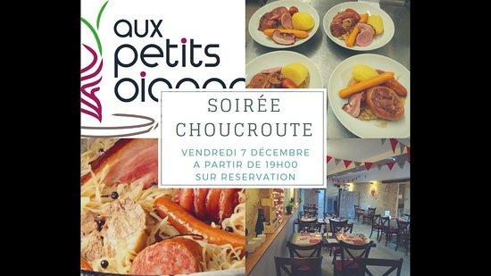 Champagne-Saint-Hilaire, France: Soirée Choucroute à l'occasion de la fête des illuminations de Champagné-Saint-Hilaire le vendredi 7 décembre 2018 à partir de 19h.