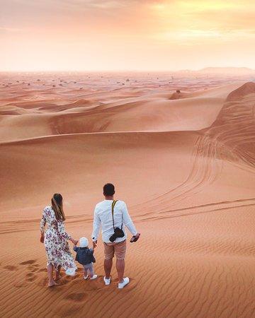 Dubai Desert Conservation Reserve: Фото дня: наше семейное селфи с квадрокоптера на закате в пустыни недалеко от Дубая