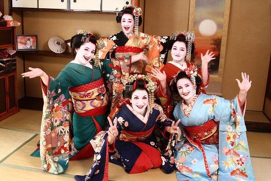 With blonde geisha girl