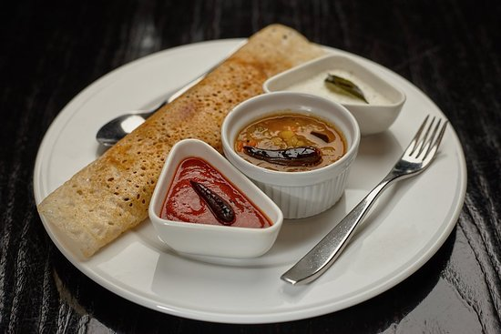 Five Rivers: Dhosa — not a dish you find very often at Indian restaurants in the UK, but absolutely beautiful and definitely something I'll be ordering next time. (This picture comes from the restaurant's website.)