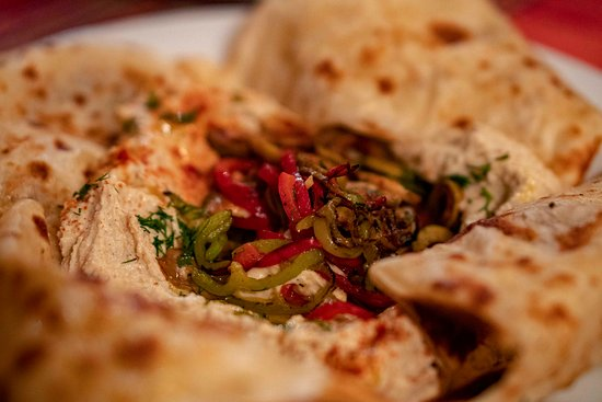 Botevgrad, Bulgaria: Hummus with vegetables and bread