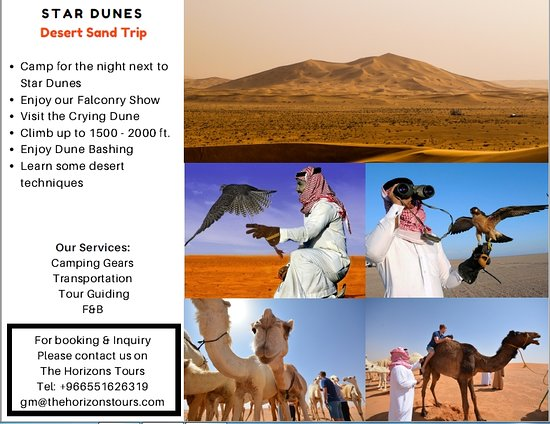 Riyadh Province, Arabia Saudita: Star Dunes, a tour for those who love camping in the winter time, ride a camel, eat traditional dishes or BBQ, watch falconry show or hunt with a Saluki.   We provide spacious personal tents & comfortable sleeping bags.