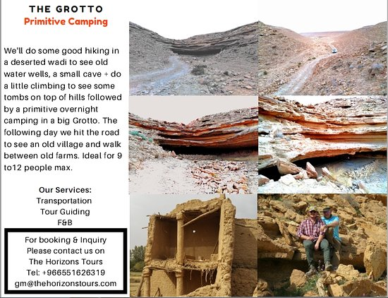 Riyadh Province, Arabia Saudita: Go primitive!   We take you to a big hidden Grotto, cook a delicious meal for you and give you some space to meditate, watch the stars or enjoy a night sleep in a nice shelter from rain and winds, followed by a visit to a nearby mud village and farms.