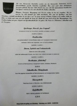 Karte Ratskeller Picture Of Ratskeller Schwabisch Hall
