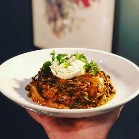 PerBacco!: Homemade spicy pork blood spaghetti chitarra with 'nduja, onion soffritto and burrata