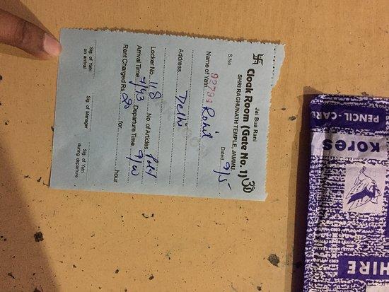 Jammu City, Indie: cloak room receipt.