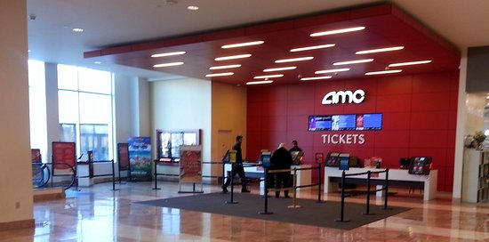 Vernon Hills, IL: ticket counter for AMC Hawthorn 12 on ground level interior concourse of the Hawthorne Mall
