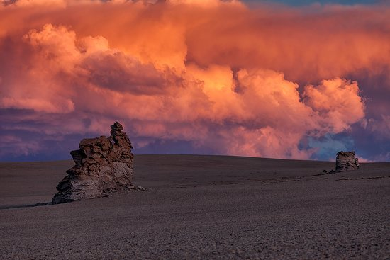 Potosi Department, Bolivia: Epic sunset in the cold desert at the altitude about 4200 meters.