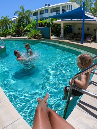 Fun in the swim-out plunge pools