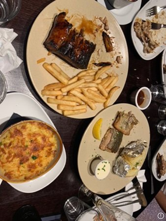Hurricane's Grill Darling Harbour : Over cooked and burnt ribs and fish