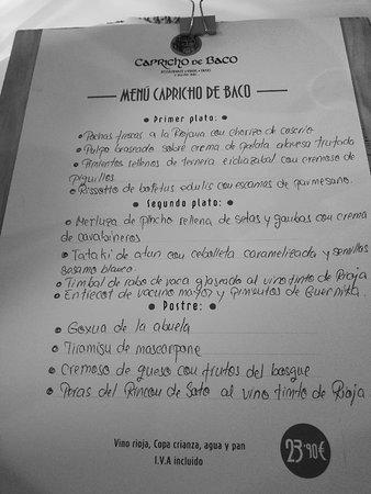Carta Picture Of Capricho De Baco Laguardia Tripadvisor