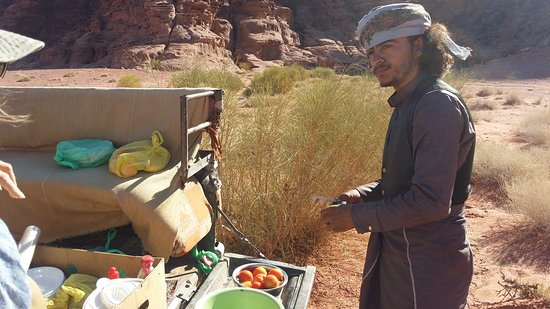 Full-Day Wadi Rum from Aqaba: Our Bedouin guide whips up lunch on the back of the 4x4