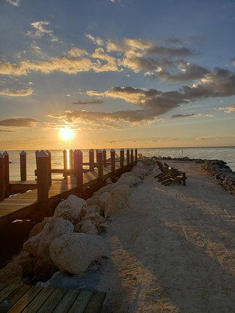 Sunrise at dock and walkway to 'beach' area