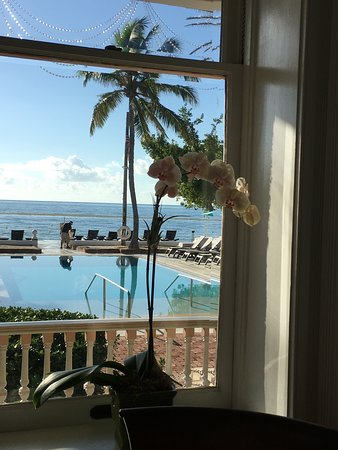 The pool looking toward the sea, taken from the breakfast room.