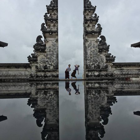 The Heaven Temple in Bali ,you can get drive from Denpasar during 3hours to East of Bali,at parking area we use open pick up car to the temple we pay per person 20K.after you can get Sarong to come in temple .