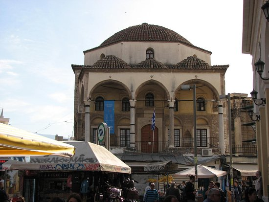 Hadrian's Library: Mosque is right next to the Library, and immediately next to the Metro station and Flea Market