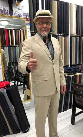 A happy repeated guest from Finland at King's Fashion Tailor in Ao nang Krabi Thailand