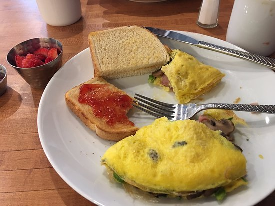 Le Peep: Made to order omelet with sour dough toast.