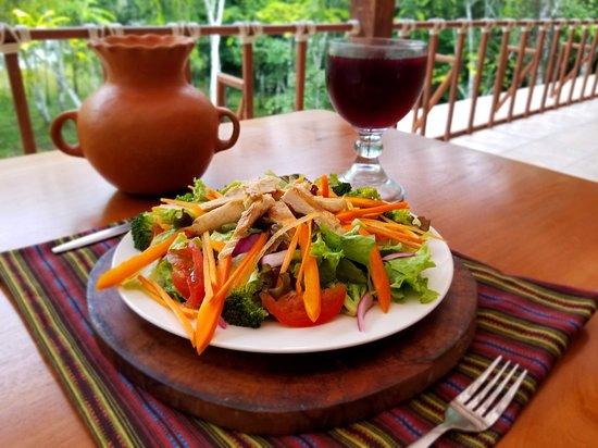 Peten Department, Guatemala: Garden Salad made with fresh vegetables and Jamaica (hibiscus) fresh drink.