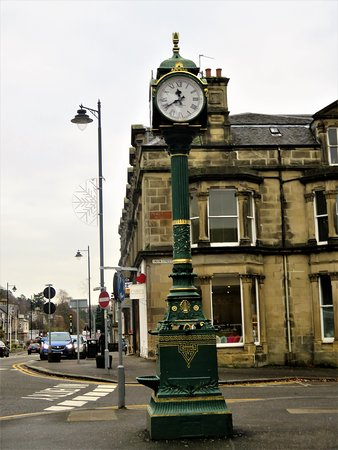 Bridge of Allan, UK: clock and fountain