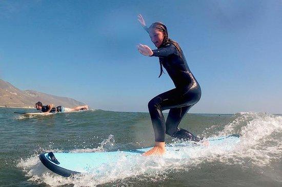 Lição de Surf em Santa Bárbara
