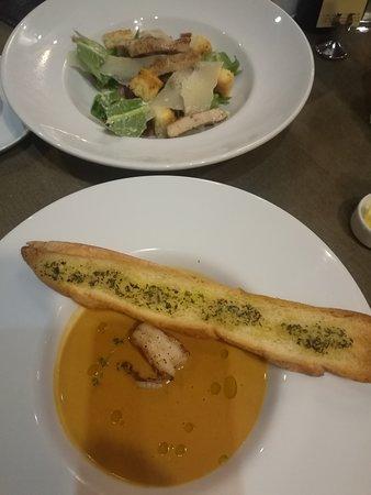 Ceasar Salad and my favorites shrimp soup