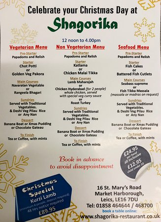 Shagorika: Christmas menu best menu in Market Harborough