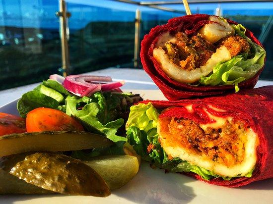 The Bay View Inn: Beetroot vegan wrap.