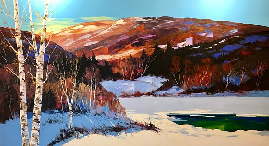 Galerie Porte Rouge: Large painting of Charlevoix region ( 40 x 72) in the traditional style, acrylic with pallet knife, warm colours and plenty of light !