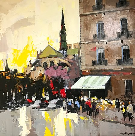 Galerie Porte Rouge: Painting of Paris, acrylic with pallet knife, made in in Paris. Other paintings of Paris, Provence and côte d'Azur available.