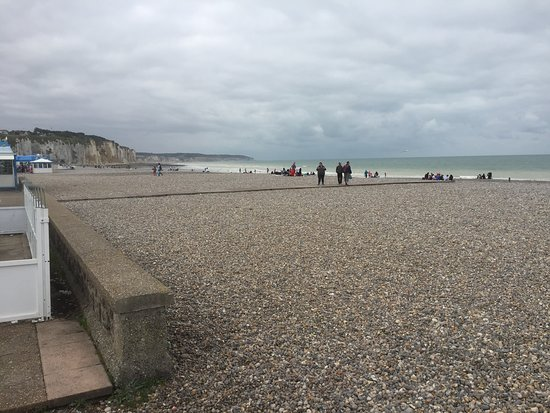 A large expanse of stoney beach. We found it to be very clean.