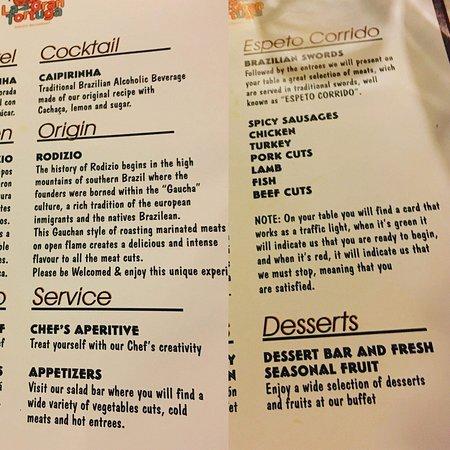 "Brazilian restaurant ""La Tortuga"" menu!"