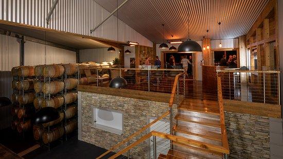 Tasting area inside Winery Barrel Shed.