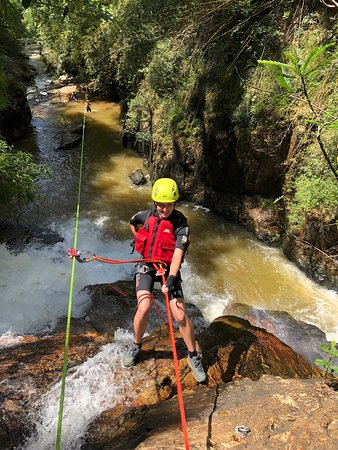 Abseiling can be very dangerous so If you don't feel comfortable abseiling on your own you can also try it with an experienced abseiler who can control your descent for you by belaying.