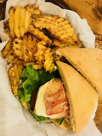 Chicken Club with Waffle Fries.