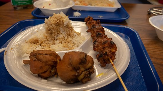 Combo plate rice, chicken and pork