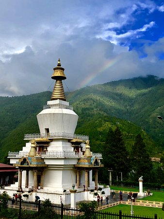 Thimphu District, Bhutan: Another pic of the memorial chorten with the rainbow taken by Kamal.