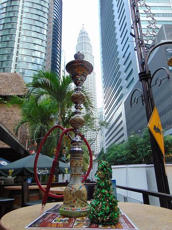 View of Petronas Tower from patio.  Great Shisha (apple) in front!