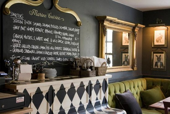 Marine Cuisine daily board at The Hare at Milton - and their trademark - cutlery in the piano!