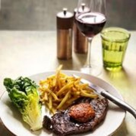 28-day dry aged 170g Sirloin of Hereford beef, beurre '1766', fries & baby gem.