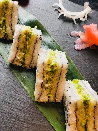 Kampai signature cucumber and avacado sushi sandwiches