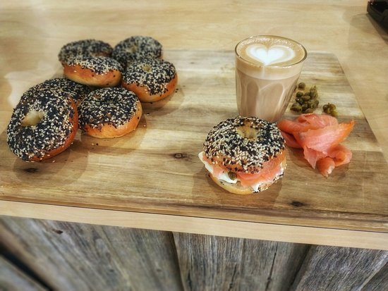 Freshly cooked bagels and great coffee