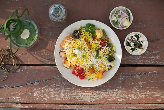 The Biryani Project: five colourful vegetables, fresh bell pepper, wild button mushroom and cottage cheese  - a spicy and tangy veg delicacy from hyderabad. not to be confused with home-made pulao. taste it to believe it.