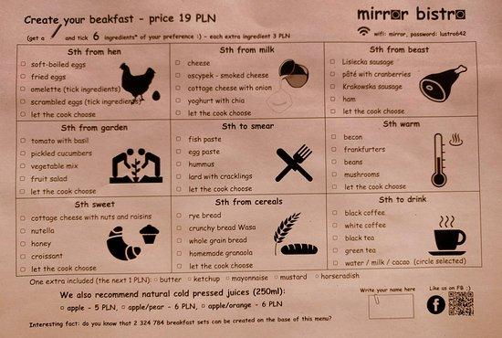 Mirror Bistro - Pierogi Bystro: Mirror Bistro - breakfast menu