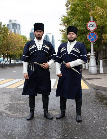 Grozny, Russia: Men in traditional dresses