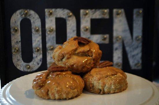 Pecan and maple scones